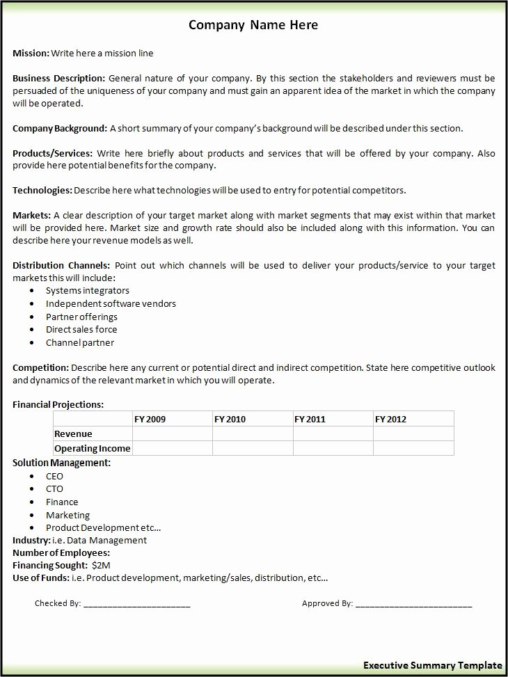 Executive Summary Outline Template Best Of 2 Executive Summary Templates