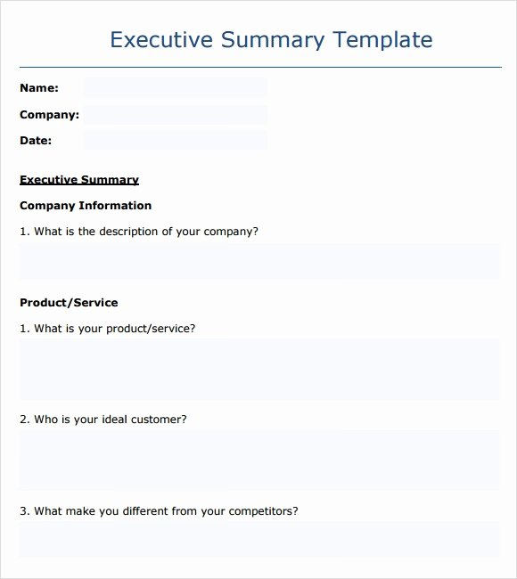 Executive Summary Outline Template Best Of Executive Summary Template 14 Download Documents In Pdf