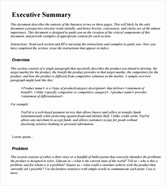 Executive Summary Outline Template Lovely Sample Executive Summary Template 12 Documents In Pdf