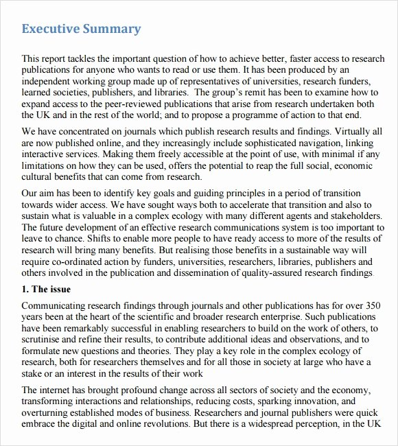 Executive Summary Template for Report Elegant Executive Summary Template 14 Download Documents In Pdf