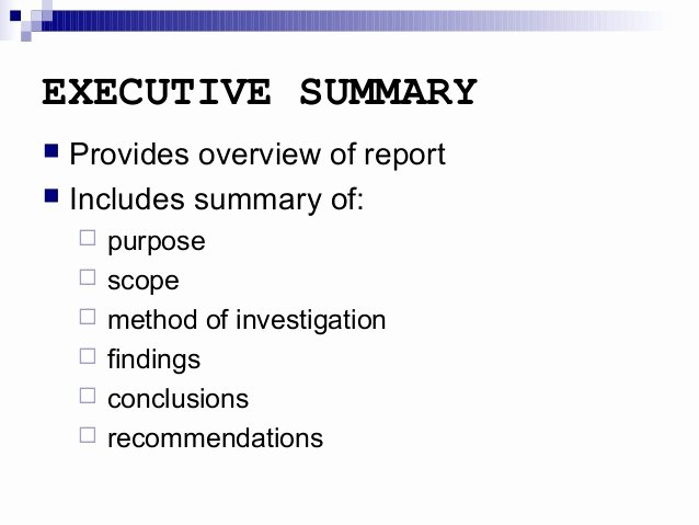 Executive Summary Template for Report Fresh Report Writing Executive Summary and Other Sections