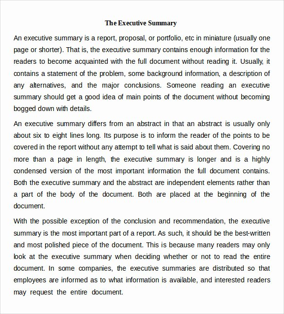 Executive Summary Template for Report Inspirational Sample Executive Summary Template 7 Free Documents In