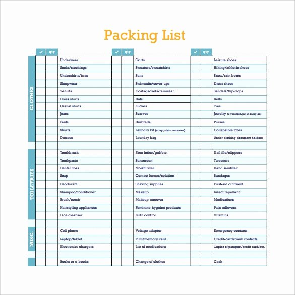 Export Packing List Template Luxury Free 6 Packing List Templates In Pdf