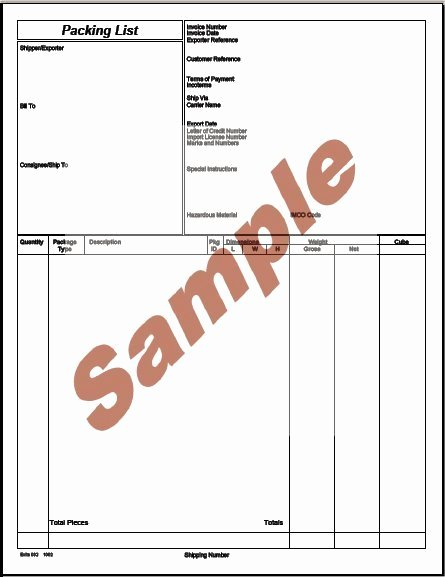 Export Packing List Template Unique Sample Export Packing List Indiafilings Learning Centre