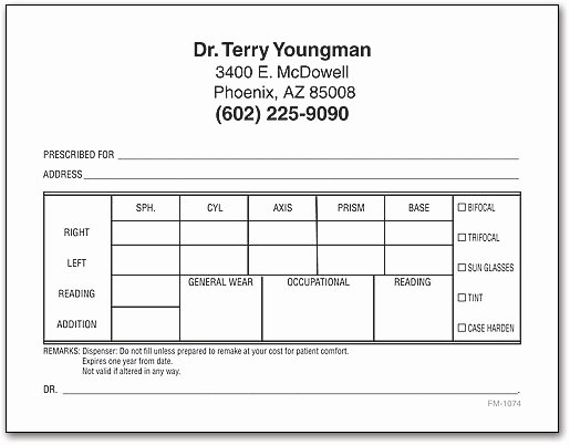 Eye Doctor Prescription Template Elegant Rx Prescription Pads
