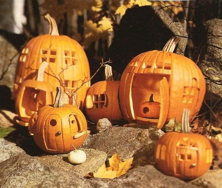 Fairy Pumpkin Carving Patterns Lovely Fairy Houses Make From Pumpkins A whole Village Full