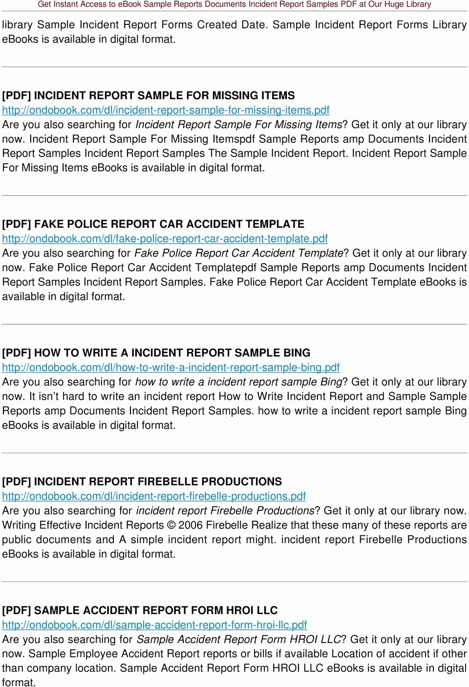 Fake Accident Report Template Inspirational Sample Reports Documents Incident Report Samples Pdf Pdf