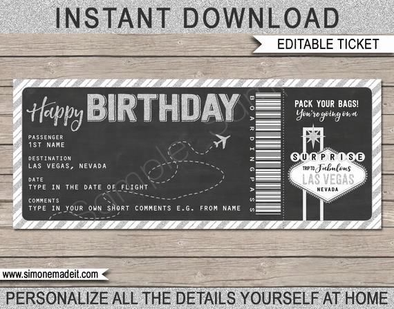 Fake Airline Ticket Gift Beautiful Las Vegas Boarding Pass Birthday Gift Printable Fake Plane