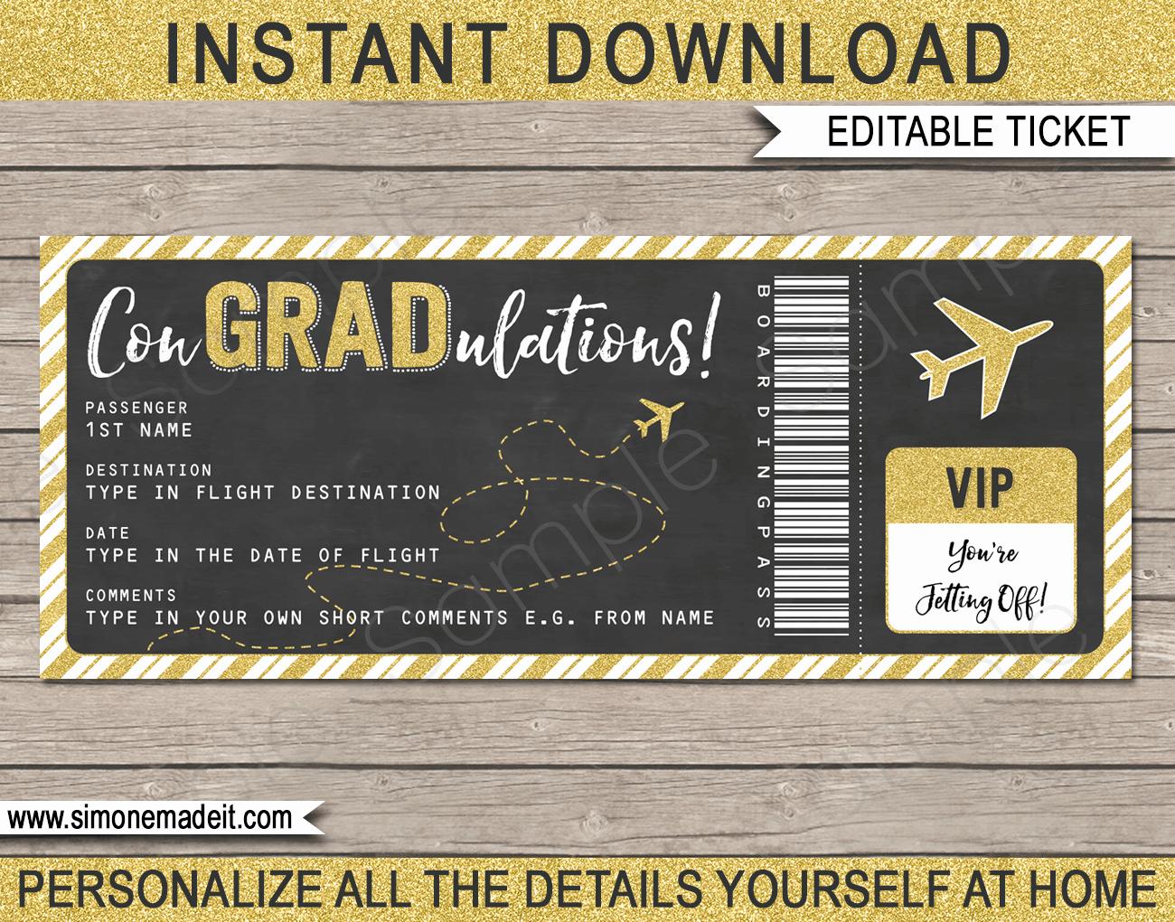 Fake Airline Ticket Gift Elegant Graduation Boarding Pass Gift Ticket