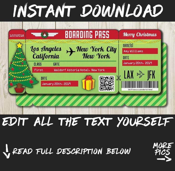 Fake Airline Ticket Gift Lovely Easy Diy Printable Editable Boarding Pass Surprise Fake