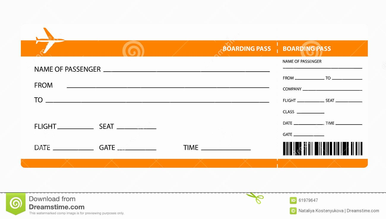 Fake Airline Ticket Gift Luxury orange Boarding Pass Stock Vector Illustration Of
