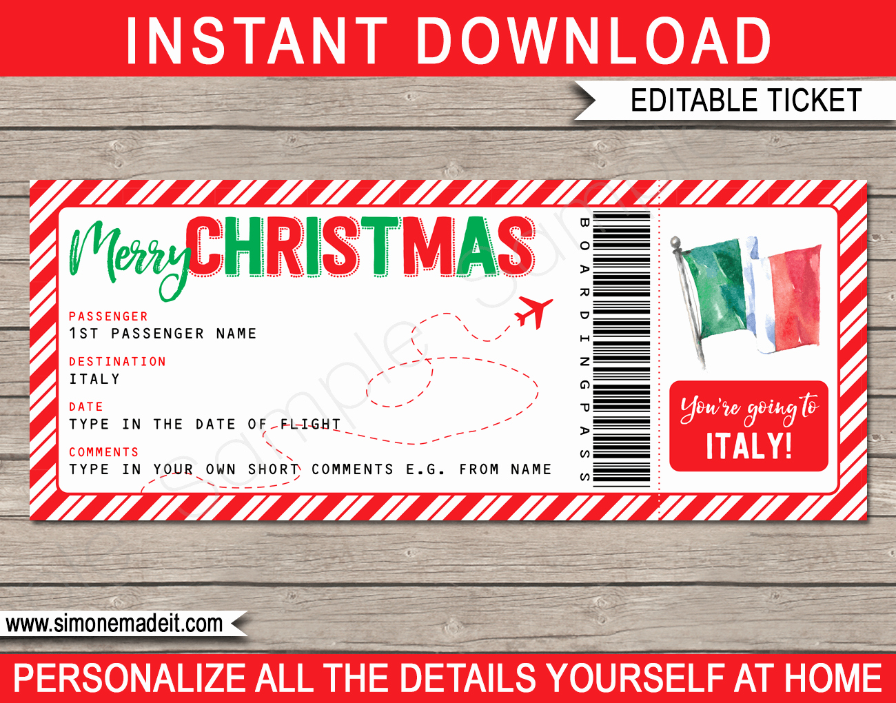 surprise trip italy boarding pass christmas t