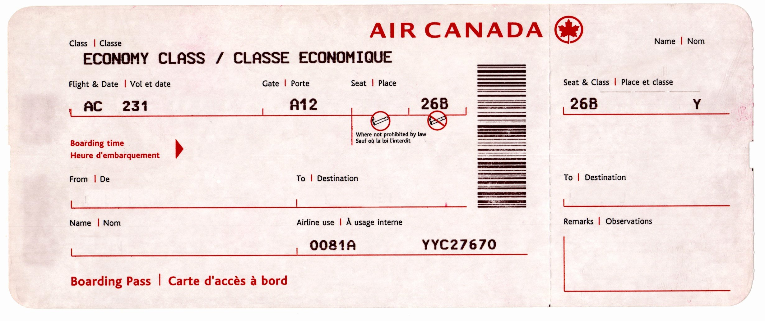 Fake Airline Ticket Gift New Airline Ticket