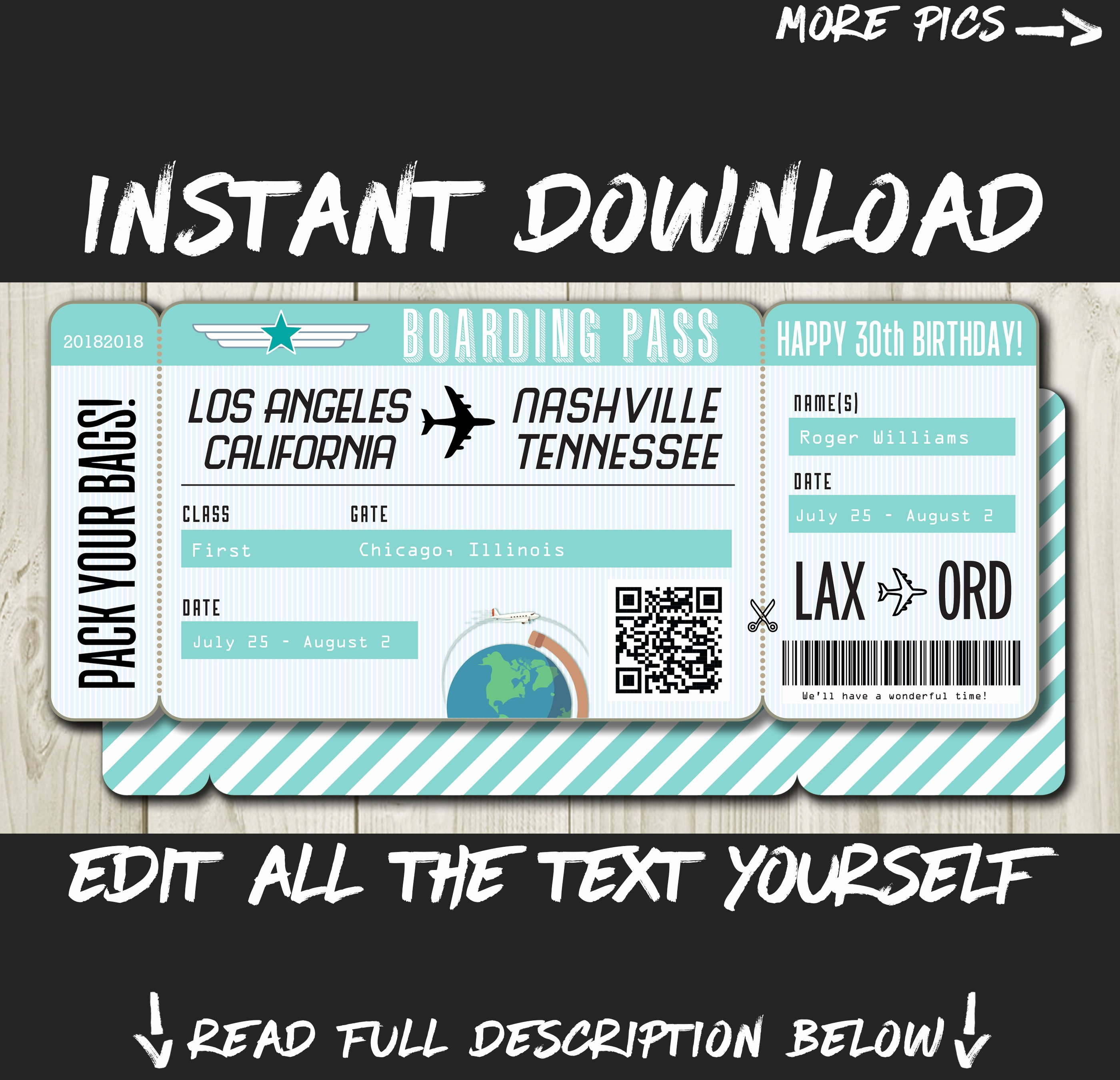 Fake Airline Ticket Gift New Diy Printable Editable Boarding Pass Surprise Fake Airline
