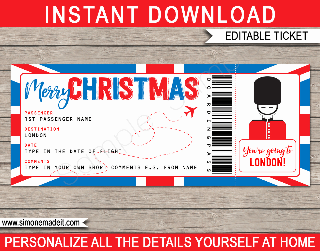 Fake Airline Ticket Gift New London Boarding Pass Christmas Gift