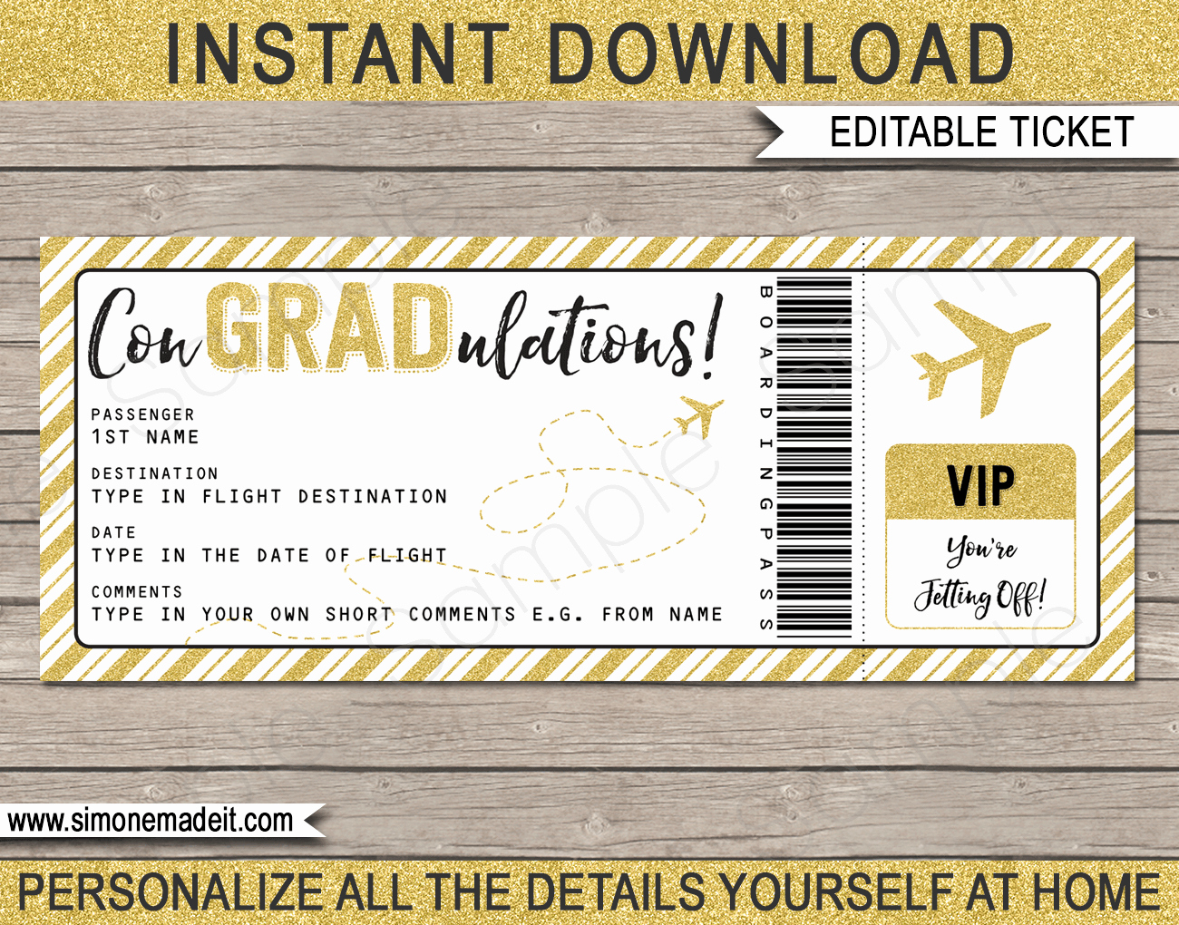 Fake Airline Ticket Gift New Printable Graduation Boarding Pass Gift Ticket