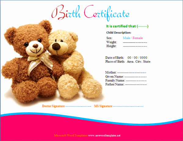 Fake Birth Certificate Template Lovely Birth Certificate Template Teddy Design Yahia