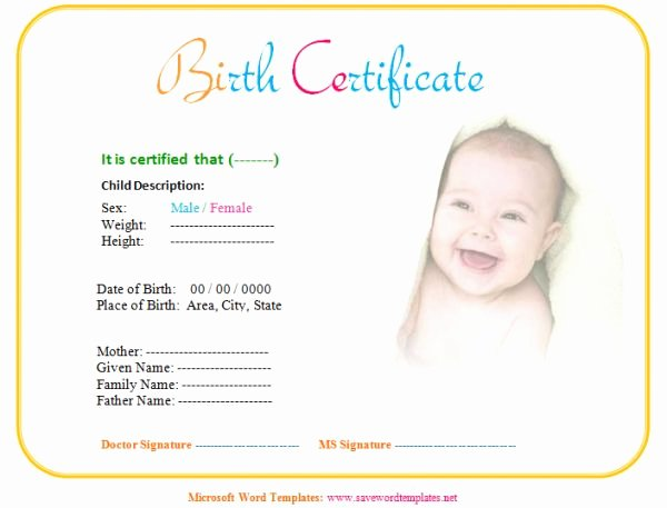 Fake Birth Certificate Template Luxury Baby Birth Certificate Template
