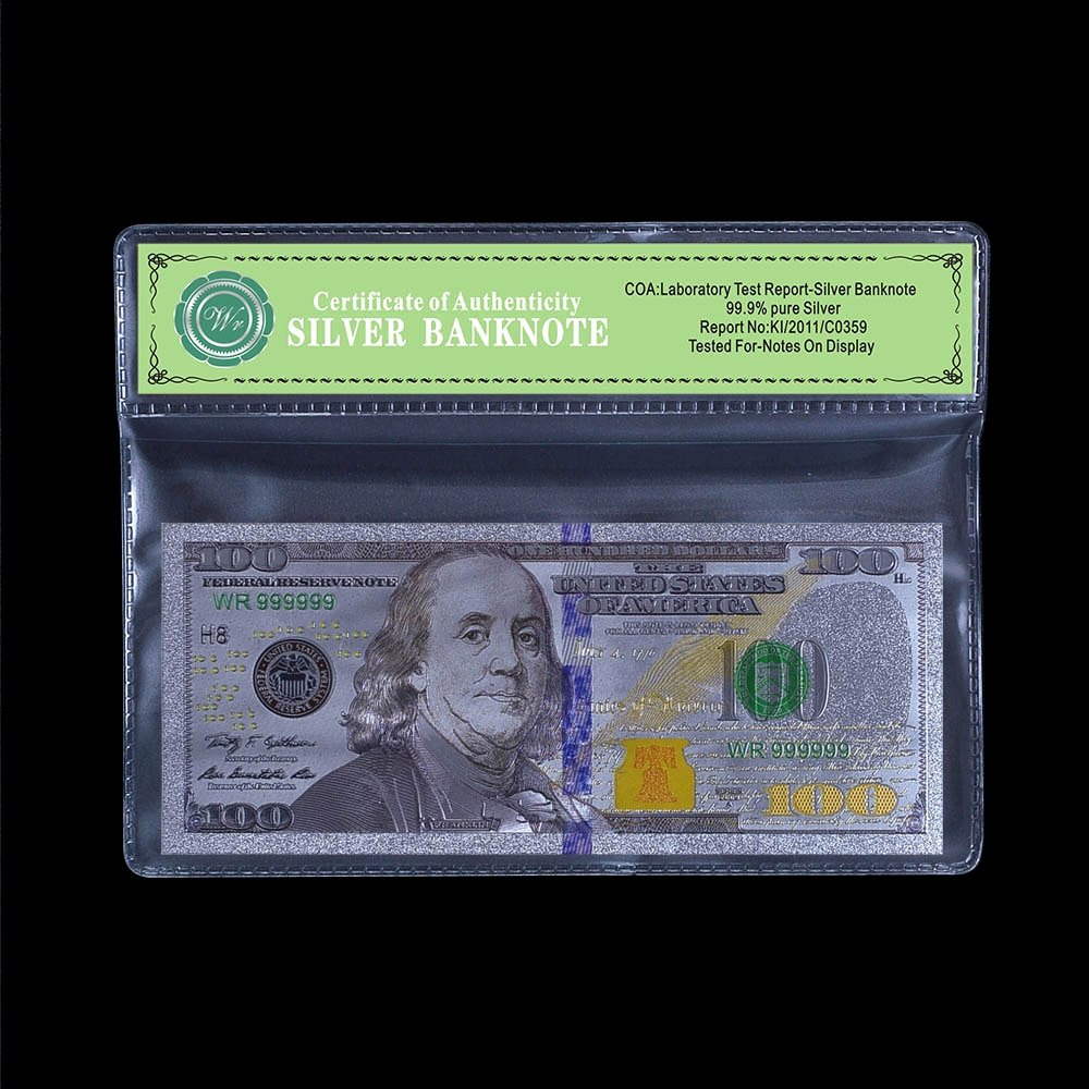 Fake Certificate Of Authenticity Beautiful Usa Silver Banknote $100 Dollar Pure Silver Foil with