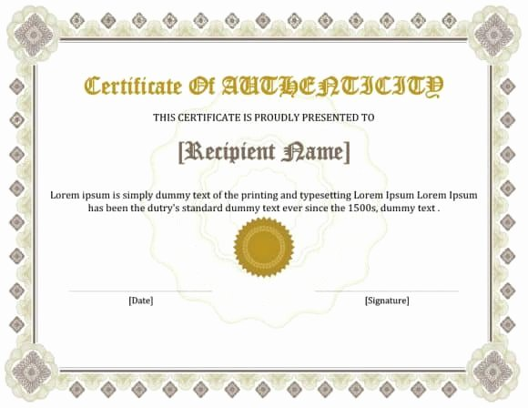Fake Certificate Of Authenticity Inspirational 37 Certificate Of Authenticity Templates Art Car