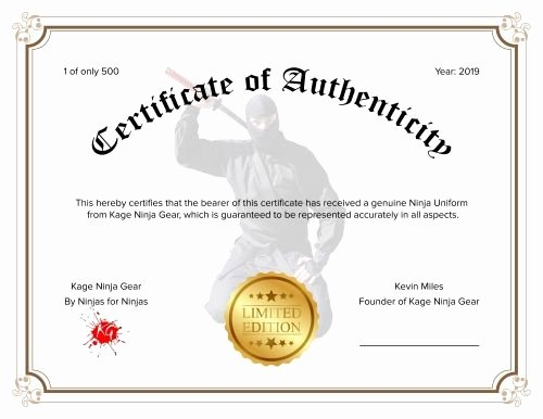 Fake Certificate Of Authenticity Inspirational Real Ninja Uniform High Quality 14oz