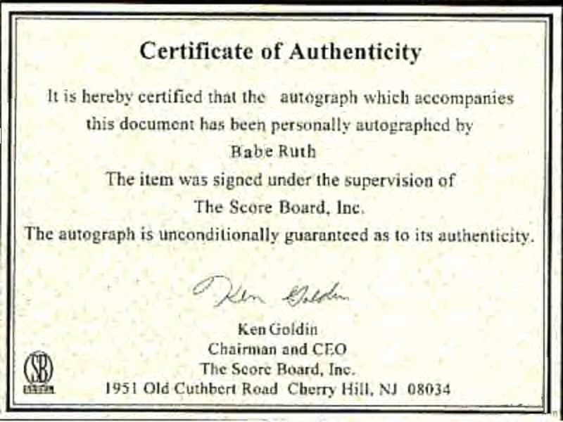 Fake Certificate Of Authenticity Luxury Autographs News and Notes