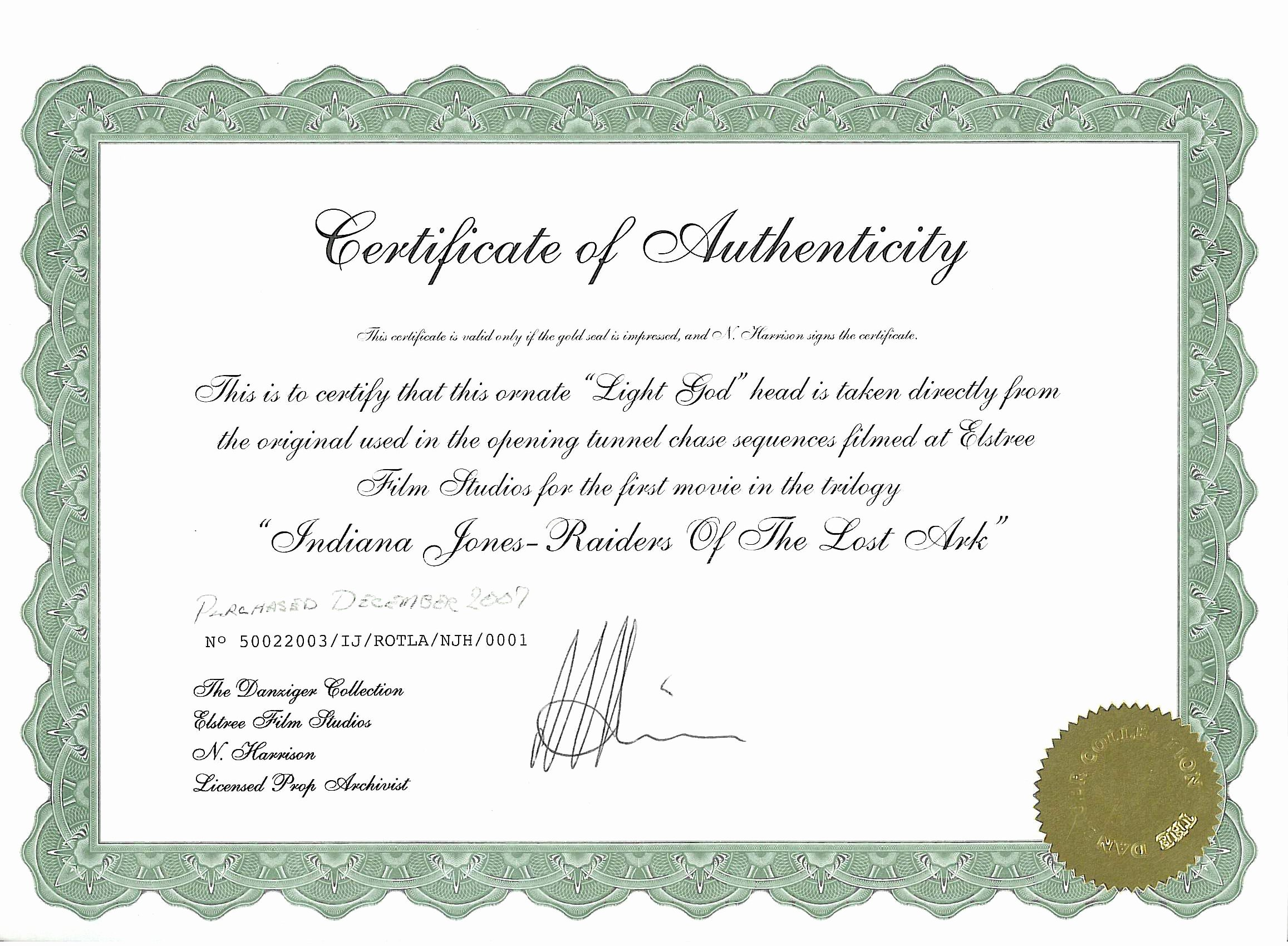 Fake Certificate Of Authenticity Luxury Elstree Props Fertility Idols Light Gods Danziger
