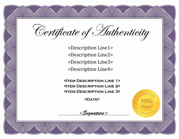 Fake Certificate Of Authenticity New 37 Certificate Of Authenticity Templates Art Car