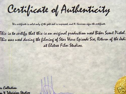 Fake Certificate Of Authenticity New Fake 'star Wars' Movie Prop Blaster Resurfaces On Ebay