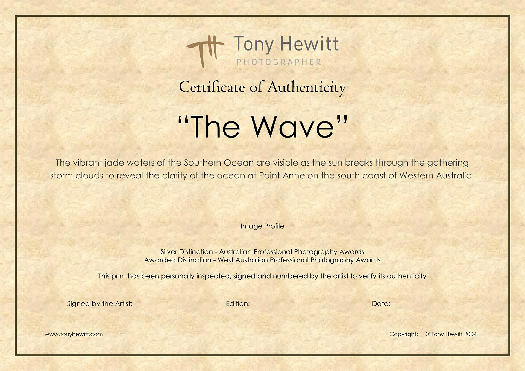 Fake Certificate Of Authenticity Unique Certificate Of Authenticity the Wave Web Th