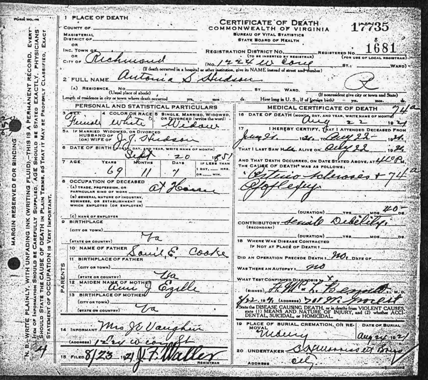 Fake Death Certificate for Work Awesome Virginia Death Certificates 1912 1939