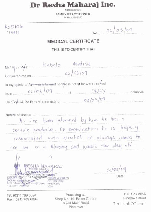 Fake Death Certificate for Work Fresh Fake Doctors Note Template Free Doctor Excuse Pdf Sick