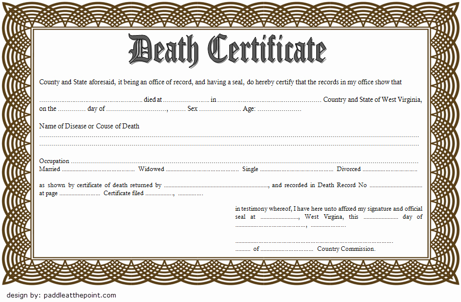 Fake Death Certificate for Work Lovely Death Certificate Template Free Download [7 New Designs]