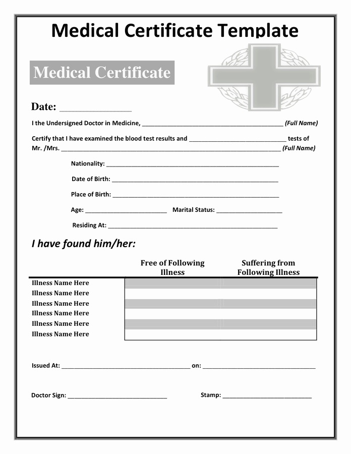 Fake Death Certificate for Work Luxury Medical Certificate Template Doc – Planner Template Free