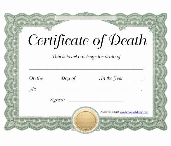 Fake Death Certificate Template Beautiful Sample Death Certificate Template – 11 Free Word Pdf