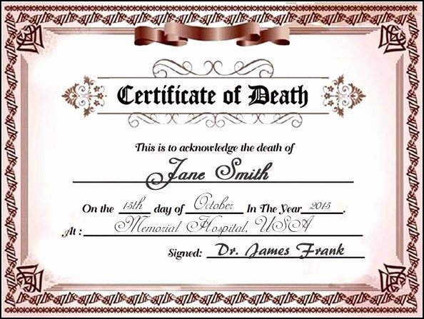 Fake Death Certificate Template Fresh 22 Best Funerals 101 Images On Pinterest