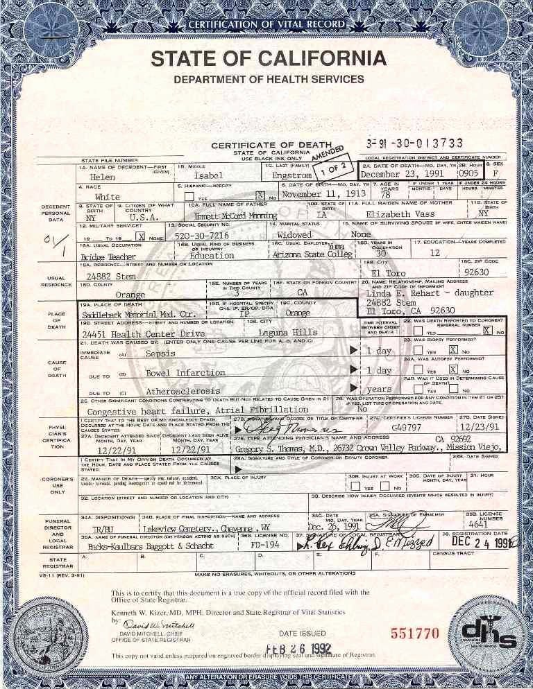 Fake Death Certificate Template Fresh Certification Of Vital Record State Of California