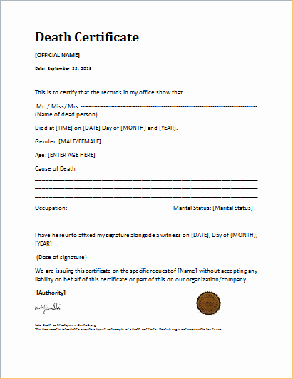 Fake Death Certificate Template Luxury Death Certificate Template for Ms Word