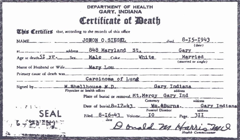 Fake Death Certificate Template Luxury File Death Certificate Of John Otto Siegel Front View
