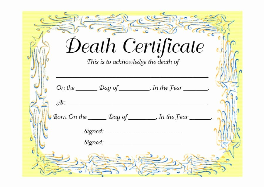 Fake Death Certificate Template New 37 Blank Death Certificate Templates [ Free]