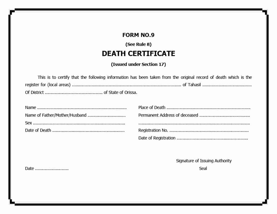 Fake Death Certificate Template Unique 37 Blank Death Certificate Templates [ Free]