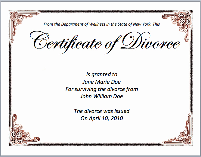 Fake Divorce Certificate Template Elegant Divorce Certificate Template Microsoft Word Templates