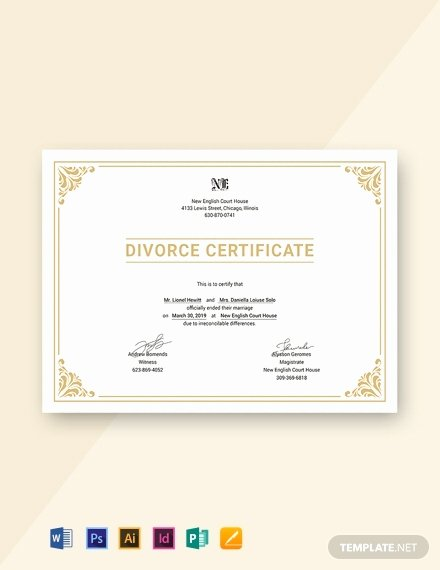 Fake Divorce Certificate Template New 27 Free Custom Certificate Templates In Microsoft Word