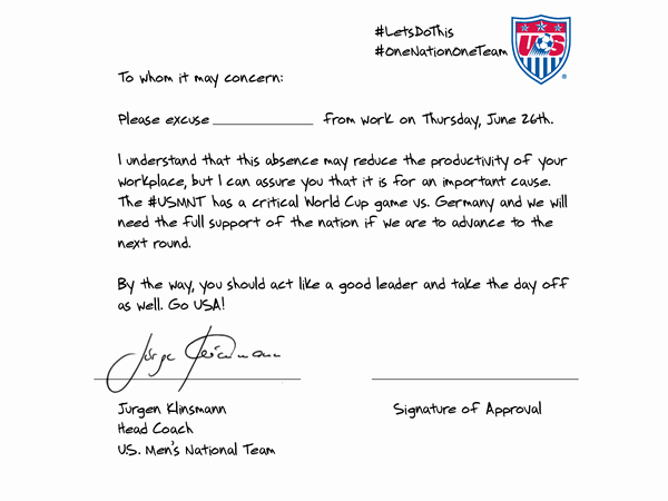 Fake Doctors Note with Signature Elegant U S soccer Coach Wrote An Excuse Note for You to Miss