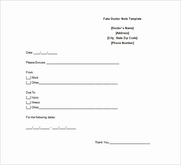 Fake Dr Notes for Work Inspirational Doctor Note Template 6 Free Sample Example format
