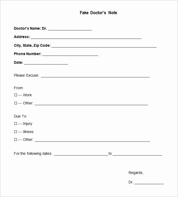 Fake Dr Notes for Work Lovely 22 Doctors Note Templates Free Sample Example format