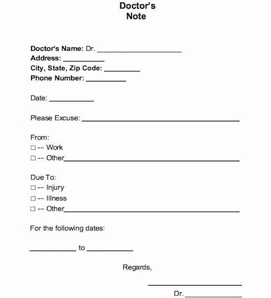 Fake Dr Notes for Work Lovely 25 Free Doctor Note Excuse Templates Template Lab