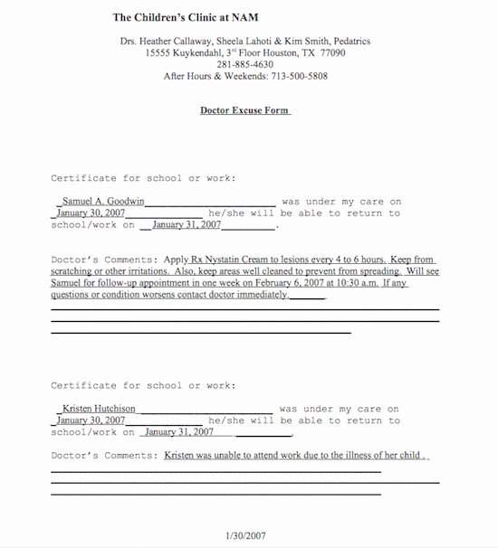 Fake Dr Notes for Work New Free Doctor S Note Excuse Note Templates Template Section