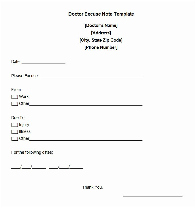 Fake Dr Notes Free Luxury 5 Free Fake Doctors Note Templates