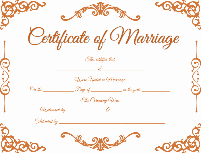 Fake Marriage Certificate Template Elegant Traditional Corner Marriage Certificate Template Dotxes